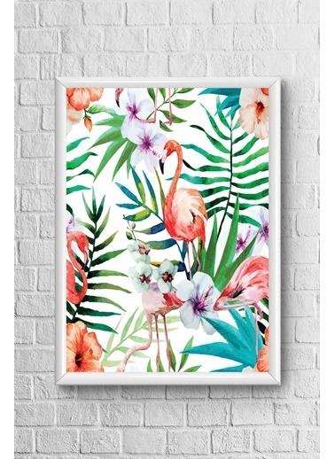 Lyn Home & Decor Flamıngo Ve Çiçekler Çerçeveli Poster Tablo 23.5X33,5 Beyaz